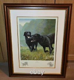 Nigel Hemming WORK REST & PLAY SET (Framed) Black Labradors Labs Gun Dogs Art