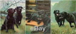 Nigel Hemming WORK REST & PLAY SET (Unframed) Black Labradors Labs Gun Dogs Art