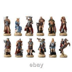 Norse God Pantheon Set Polystone Sculpture Odin, Frigga, Thor, Tyr, Freyr, V