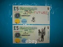 Original £5 GBP Note Canvas Set un signed plus Free Dismaland Banksy flyer