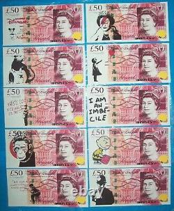 Original £50 GBP Note Canvas Set un signed plus Free Dismaland Banksy flyer