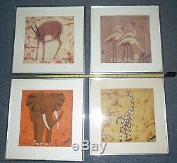 Original Framed & Signed J Mwangi African Animal Painting Set of 4, 15 x 15
