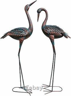 Patina Heron Decoy Metal Crane Sculpture Outdoor Yard Art Statue Garden Bird Set