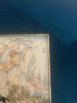 Persian Art Painting Set Gold Trim Polo Match & Animal Hunting Yaziri On Bone
