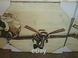 Pottery Barn Planked Fir Airplane Panels Set of 4 wall art New