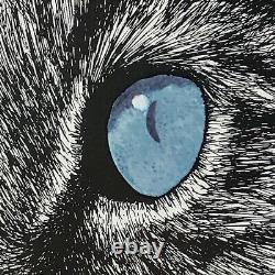 Rabindra Danks Cat Prints 1973 Set of 2 Matted Framed Lifelike Drawings
