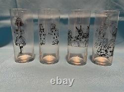 Rare Alice in Wonderland Fishs Eddy Libbey Set Of 4 Drinking Glasses Tumblers