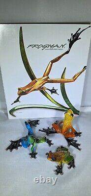 Rare Matched Set Of 3 Frogman 532/5000 Bronze Frogs Limited Edition Coa 1974