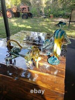 Rare SET Vintage MURANO Italy Art Glass BULL & Matador Toro MC FIGURINE 11& 8