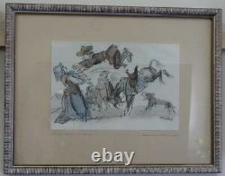 Rare Set of 6 Donkey Tails by Carl Ernest Fischer 1947 Signed Lithographs