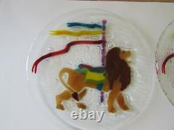 Rare VTG Peggy Karr Fused Art Glass Carousel Animal 8 Plates Set of 8