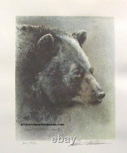 Robert BATEMAN Black Bear Predator 3 Print art set original Hand Coloured