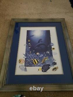 Robert Wyland Friends of the Sea Signed Framed Lithograph and Pin Set