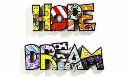 Romero Britto Hope Dream Word Art Set Authentic Retired