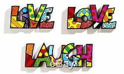 Romero Britto Live Love Laugh Word Art Set Authentic