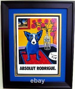 SET of 2 ABSOLUT VODKA BLUE DOG PRINT ADS by GEORGE RODRIGUE 13 x 16 ea