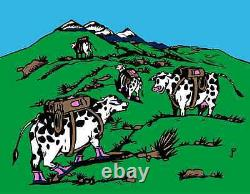 SIGNED Jim Pollock COWS ON VACATION Waterwheel Set Posters