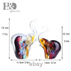 Set 2 Elephants Figurines Animals Hand Blown Glass Art Collectible Gift Decorate