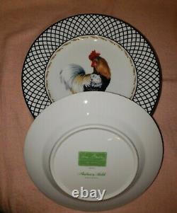 Set 8 Rare Vera Bradley Chanticleer Black White Rooster Andrea Sadek Plates