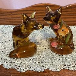 Set Of 2 Fenton Art Glass Amber Foxes, One Hand Painted Signed J Cutshaw