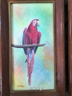 Set Of Oil Paintings Parrot Pirates Vintage Estate Signed