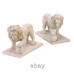 Set of 2 Lion Garden Statue Figurine Outdoor Sculpture Yard Decor Art Ornament