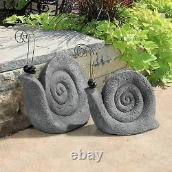 Set of 2 Whimsical Giant Large Garden Snail Statues Yard Art Sculpture Figurines