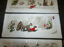 Set of 3 Boris O'Klein Original Dirty Dogs of Paris Hand Painted Etchings