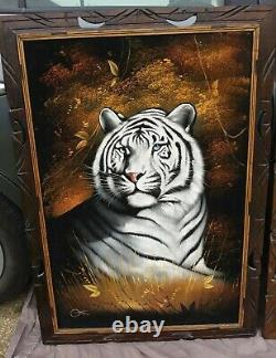 Set of 3 David Ortiz 1970s Velvet Paintings Large 2 Tigers, 1 Lion Mexico
