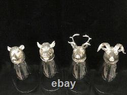 Set of 4 Arte Italica Italy Animale Glass & Pewter Animal Head Pilsner Glasses