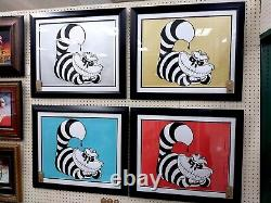 Set of (4) Original Art by SNIPT Cheshire Skeleton Cat Signed Print 18x24 L/E 25