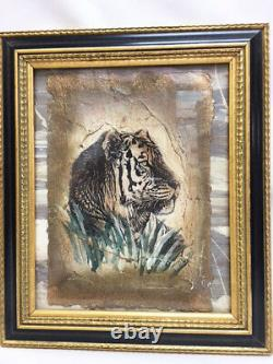 Set of 4 SAFARI African WILD ANIMALS Sketch Framed Black & Gold Art Pictures