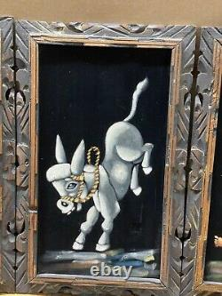 Set of 4 Vintage Framed Velvet Paintings Mexico Donkey and Boy 14x23