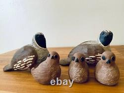 Set of 5 Vintage Ceramic Abstract Quail Sculptures by Hans Sumpf Artist Haire