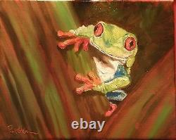 Set of Original Frog Paintings 8x10 by Rick Osborn framed