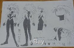 Tenchi Muyo Animation Character Setting Art Sheet 65 piece set VERY RARE