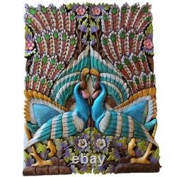 Thai Figure Pair Peacock Carved Wood Wall Art Panels Handmade Set Of 2pcs