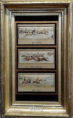 Thomas Stevens -19th century Stevengraphs of Fox Hunting-Set of 3