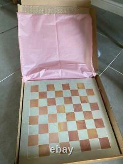 UNIQUE ART NATURAL SOAPSTONE HAND CARVED AFRICAN CHESS SET 18x18 inches+BOARD