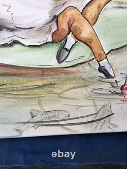 VINTAGE Handpainted Canvas ART Beatrix Potter Oil Painting FISHING FROG SET of 2