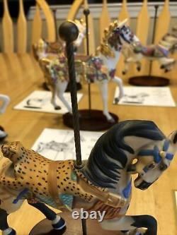 VINTAGE Set 1988 FRANKLIN MINT TREASURY OF CAROUSEL ART, 12 HORSES ANIMALS COA