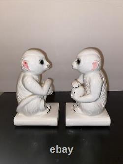 VINTAGE White Ceramic Monkey Bookend by MANN Japan SET