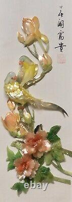 VTG 40s Abalone & Jade Glass Art Yellow Songbirds 13½ Shadow Box Duo Set 2