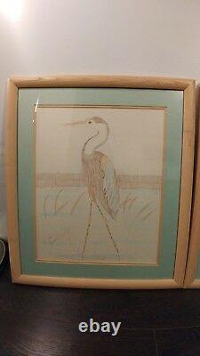 Vintage Don Russell Framed Art Drawing Twin Herring Signed (SET OF 2)