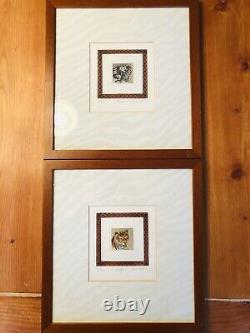 Vintage Framed Signed & Numbered African Animal Painting Set of 4, 12.5 x 13