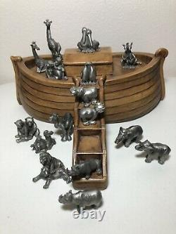 Vintage Hudson Fine Pewter Noahs Ark Set 11 Animal Pairs (16 Pewter Pieces)