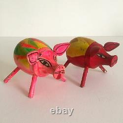 Vintage MID Century Mexican Oaxaca Haind Painted Wood Folk Art Animals 4pc Set