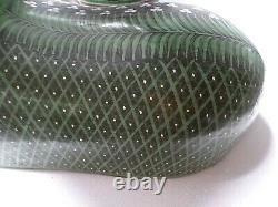 Vintage Mexican Folk Art Burnished Clay Pottery Set Vase Cat X Large Green