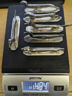 Wiskemann Art Deco Silver Plated Animal Knife Rests Set Dog Pheasant Duck Hare